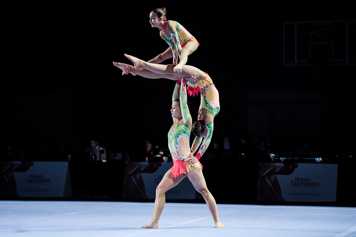 Trio of acrobatic gymnasts performing amazing balance