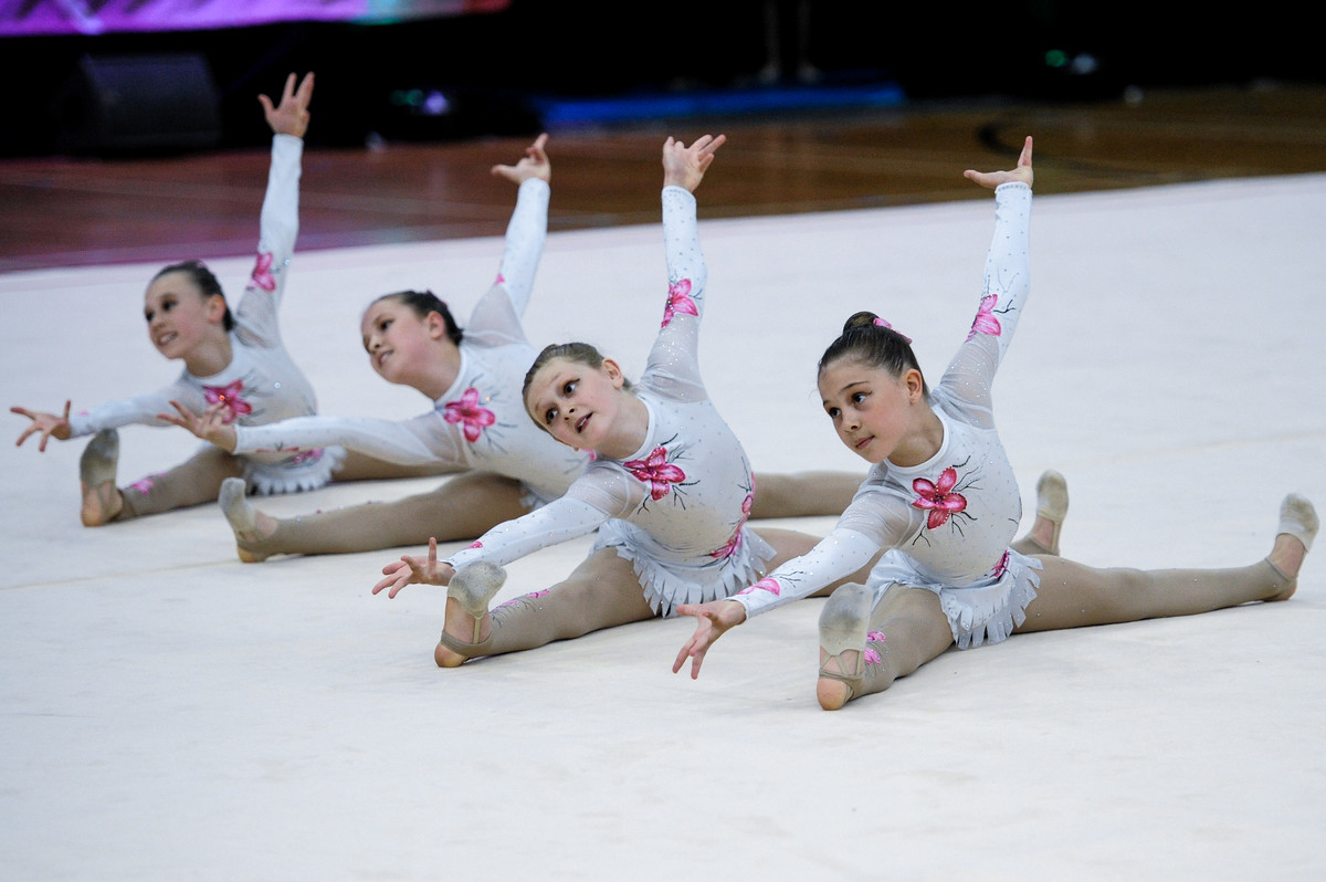 Group of rhythmic gymnasts performing