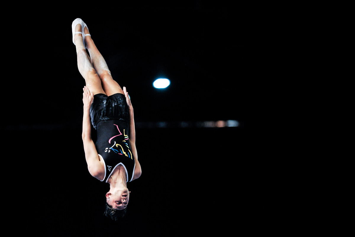 Trampoline gymnast Luke Strong enjoys being airborne