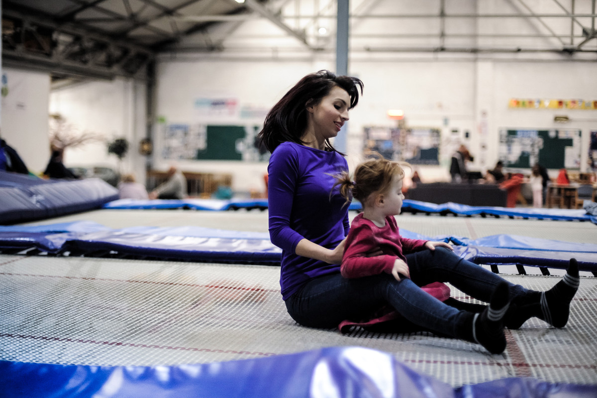 starting out, young gymnast gets acquainted with the trampoline at local club