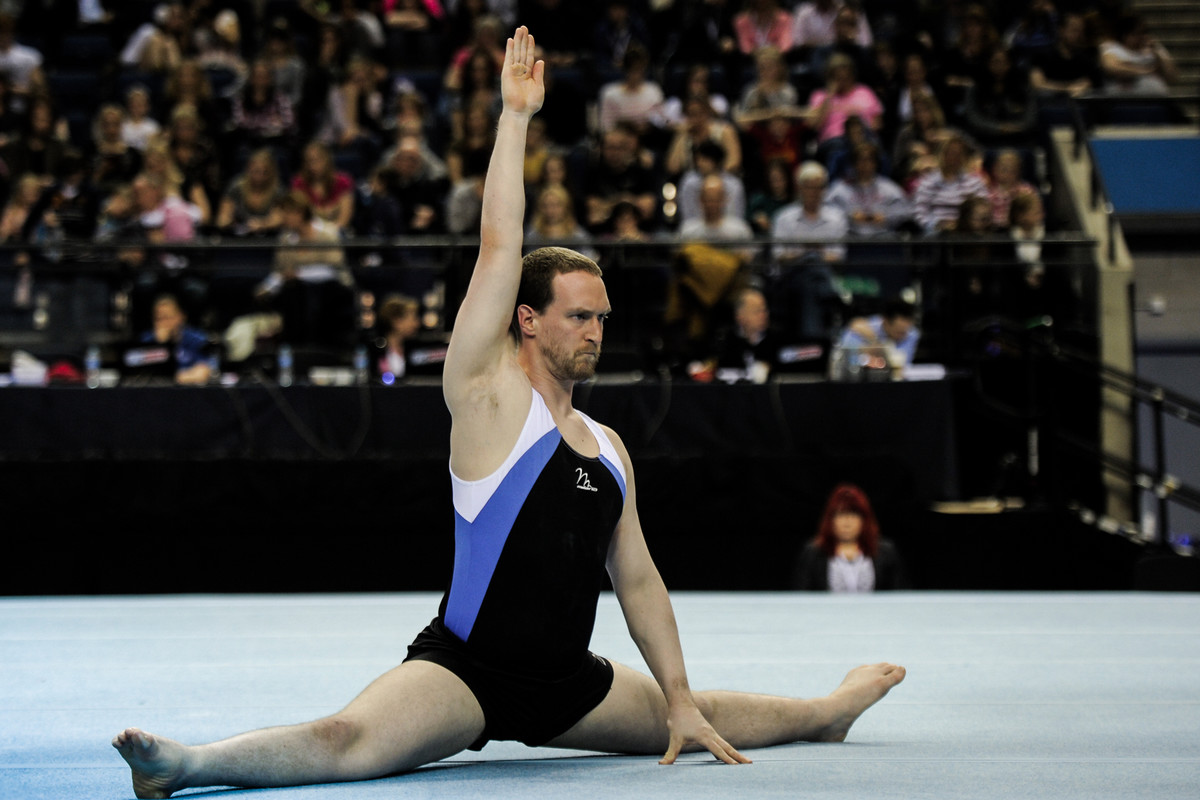 Great flexibility on display as gymnast performs the splits at disability champi