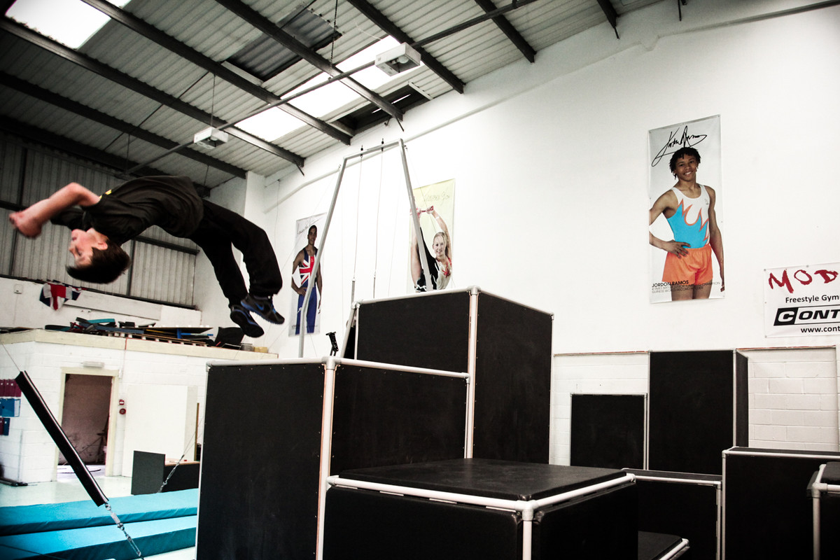 gymnast performs epic backflip off the top block at a FreeG session, for freesty