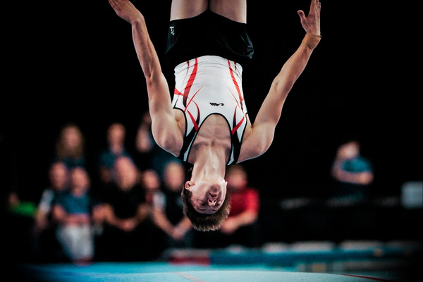 Kristof Willerton caught upside down in action competing at tumbling championshi