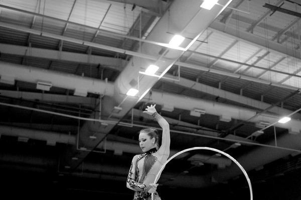 Frankie Jones performs with hoop at the British Championships