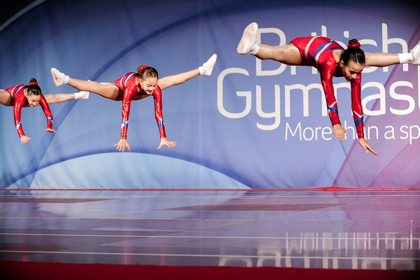Trio of aerobic gymnasts perform at the British Championships