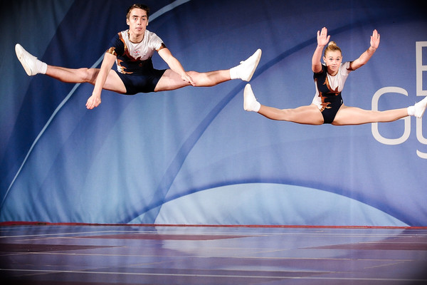 aerobic pair perform at the British Championships