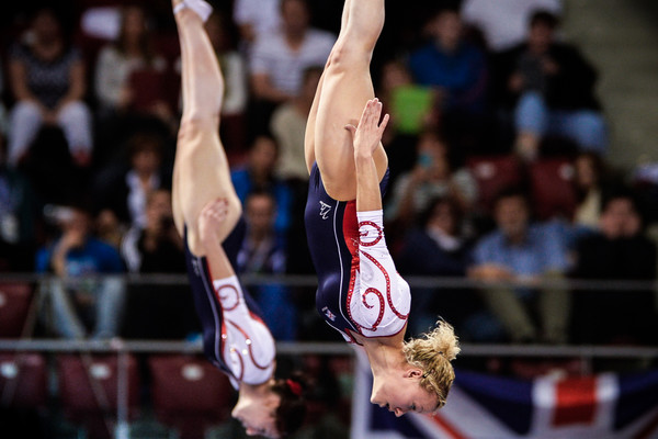 Synchronised trampoline gymnasts Kat Driscoll and Amanda Parker