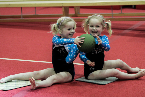 pre-school gymnasts developing their coordination skills