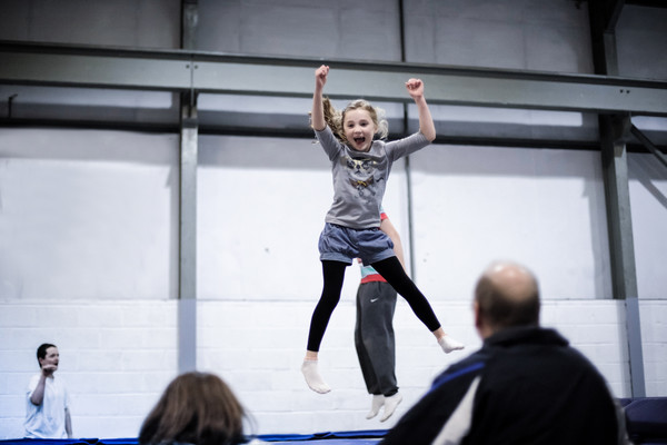 Young trampolinist having fun