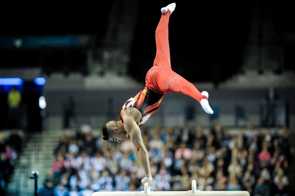 Louis Smith MBE displays his pommel horse skills
